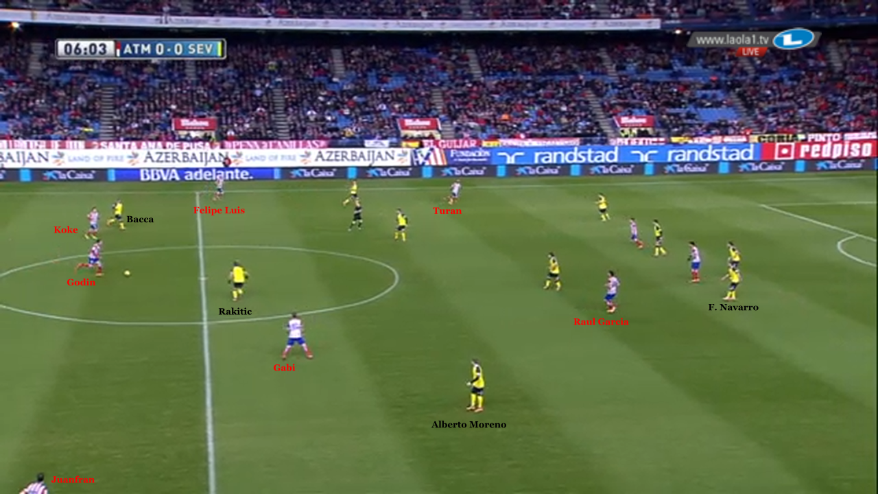 Godin played against the man marking of Sevilla FC with an aggressive move forward to the open space near Koke and Gabi. He lures Rakitic away from his opponent, Gabi, to the center. Alberto Moreno does not move in to take Gabi, because he is marking Juan Francisco. He then picks up speed to attack the space that has been freely drawn out by Raul Garcia. The close position of Navarro in the center against the two Atlético strikers is also striking.