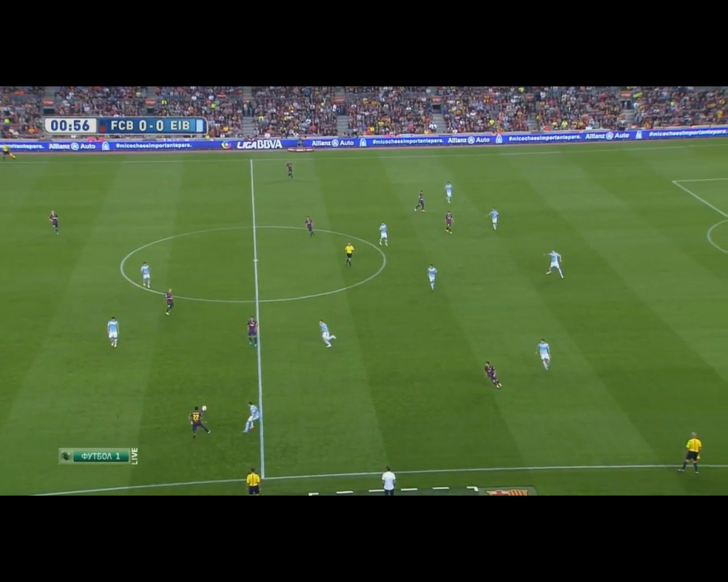 Eibar's nearside wingback pressing high and forming a situational 4-4-2.