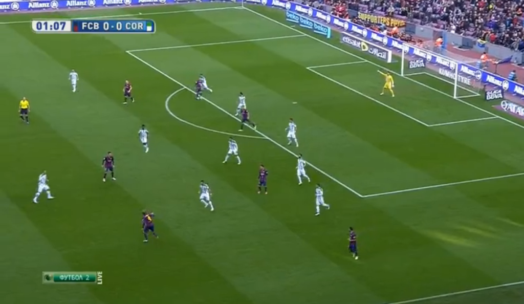 Rakitic and Pedro exposing Cordoba's poor defensive play.