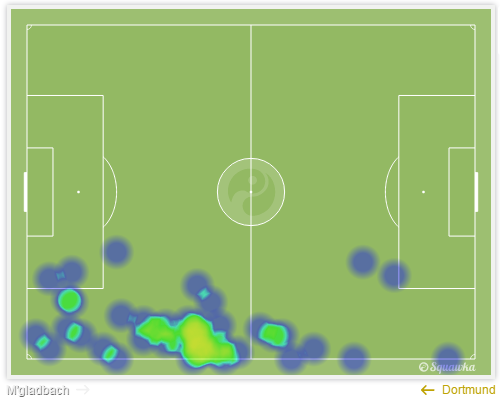 Marcel Schmelzer's heatmap in the frist 45