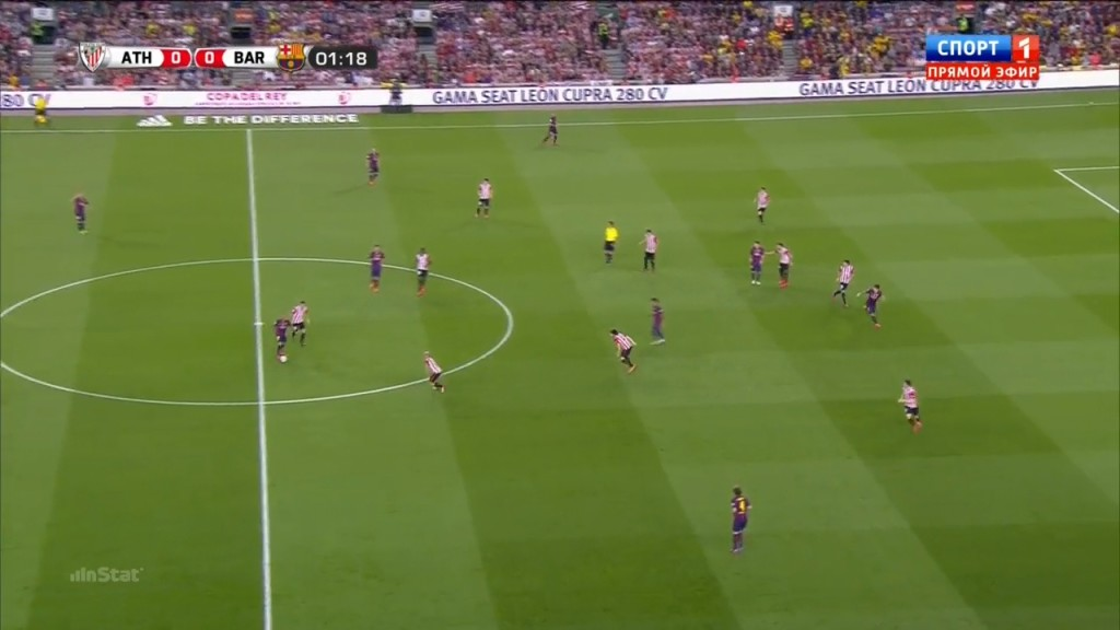 This image is great, the closest player to Rakitic is the left central defender - how did that happen?
