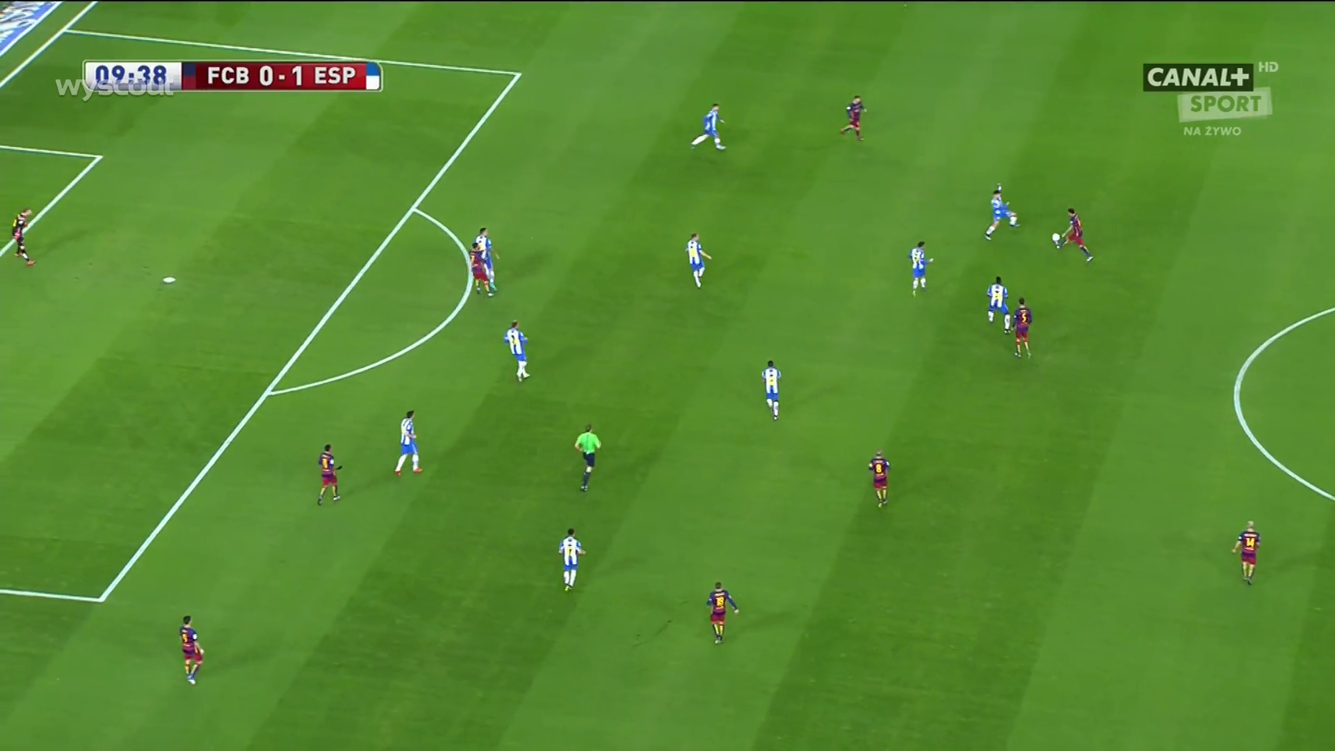 Barcelona's structure before losing possession for Espanyol's goal.