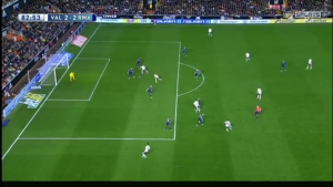 The Valencia goal coming from - you guessed it! - a diagonal towards the far post with 2 attackers running