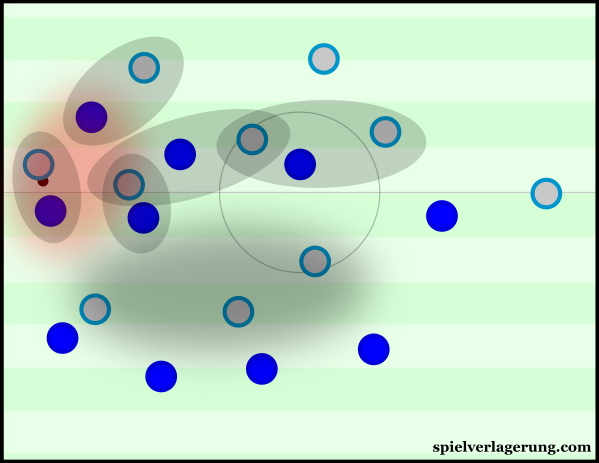 Hertha have to make sure they press the opposition with enough intensity so that they're unable to exploit the space in between.